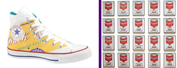 Warhol Campbell leveseskonzerv utánérzés cukorkaszínekben a Cons tornacipőn
