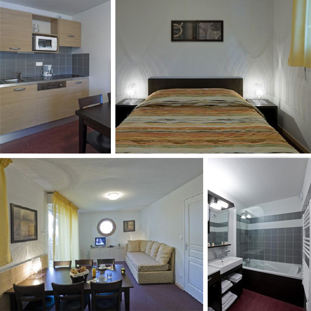 Az apartmanok belülről: konyha, háló, nappali, fürdő