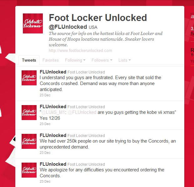 Foot Locker a twitteren dec. 23-án: Kicsit letérdelt a website :)