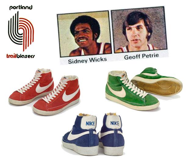 A Nike Blazer első három színe és a két első viselői a kosárpályákon