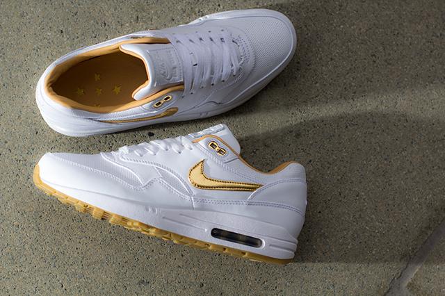 Nike Air Max 1 FB Woven (fehér, arany pipával)