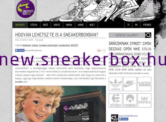 Megújult a sneakerbox.hu! Katt az idegenvezetéshez!