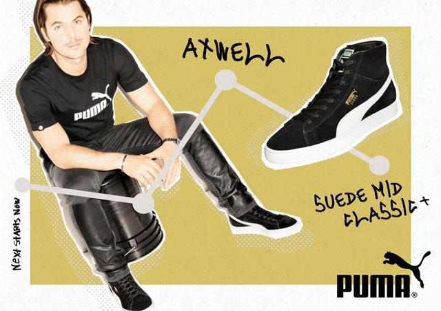 Axwell, a Puma új nagykövete egy Suede Mid Classic cipőben