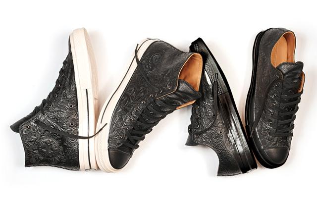 Embossed Floral Converse CT '70 dombornyomott fekete bőr női cipők - itthon is elérhetők!