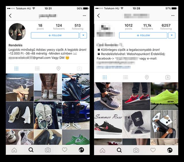 Két példa a kamu cipőrendelős Instagram profilra
