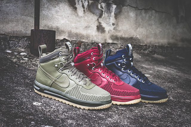 "Nike Lunar Force 1 Duckboot ""Medium Olive"", ""Team Red"" és ""Dark Obsidian"""