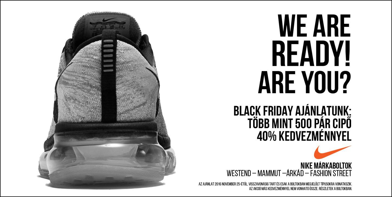 Black Friday a Nike Westend, Fashion Street, Árkád és Mammut üzleteiben