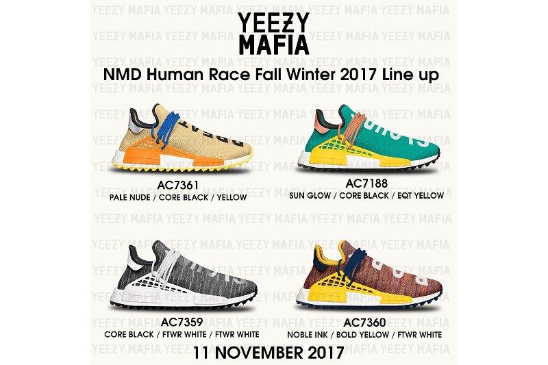 Pharrell új 2017 novemberi adidas NMD HU Trail színállásai