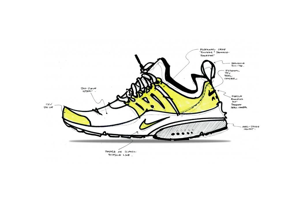 A Nike Air Presto végleges vázlatai