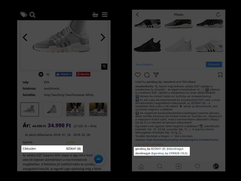 Itt találod a cipő cikkszámát és így jelentkezhetsz a játékba az Insta profilunkon!