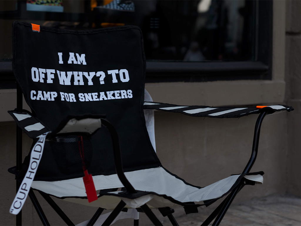 """Off-White sneaker camping chair"""