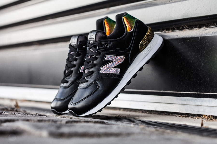 New Balance 574 Black with Metallic Gold