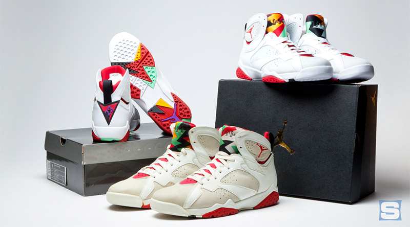 "Az Original Air Jordan 7 ""Hare"" a 2008-as CDP Air Jordan 7 ""Hare"" és a 2015-ös Remastered Air Jordan 7 ""Hare"""