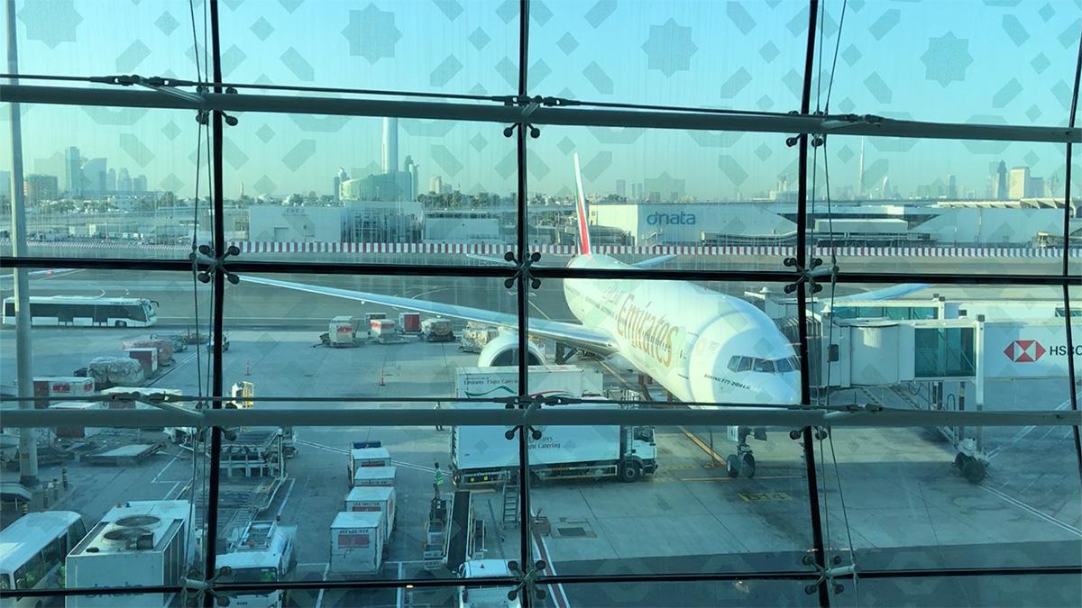 Az Emirates Boeing 777-ese, ami a Dubai-Budapest útvonalat repüli