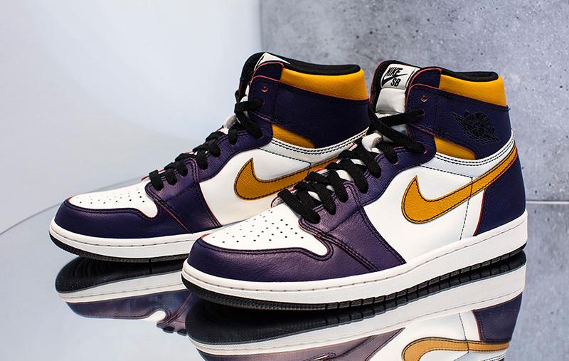 Air Jordan 1 OG x Nike SB Court Purple/Black-Sail-University Gold
