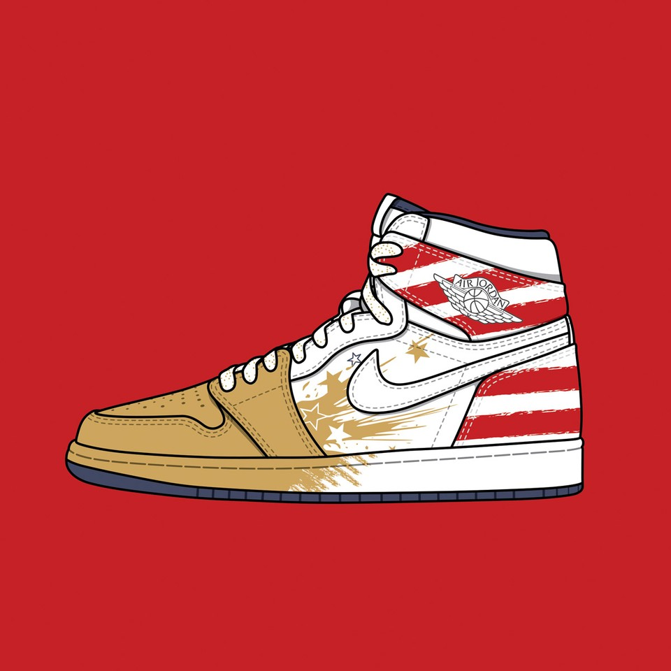 """Dave White x Nike Air Jordan 1 """"Wings for the Future Gold"""""""