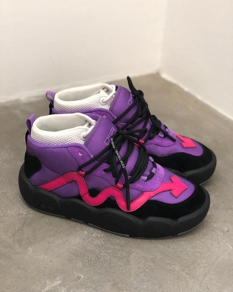 Új Off-White kosaras cipők: a lila színállás