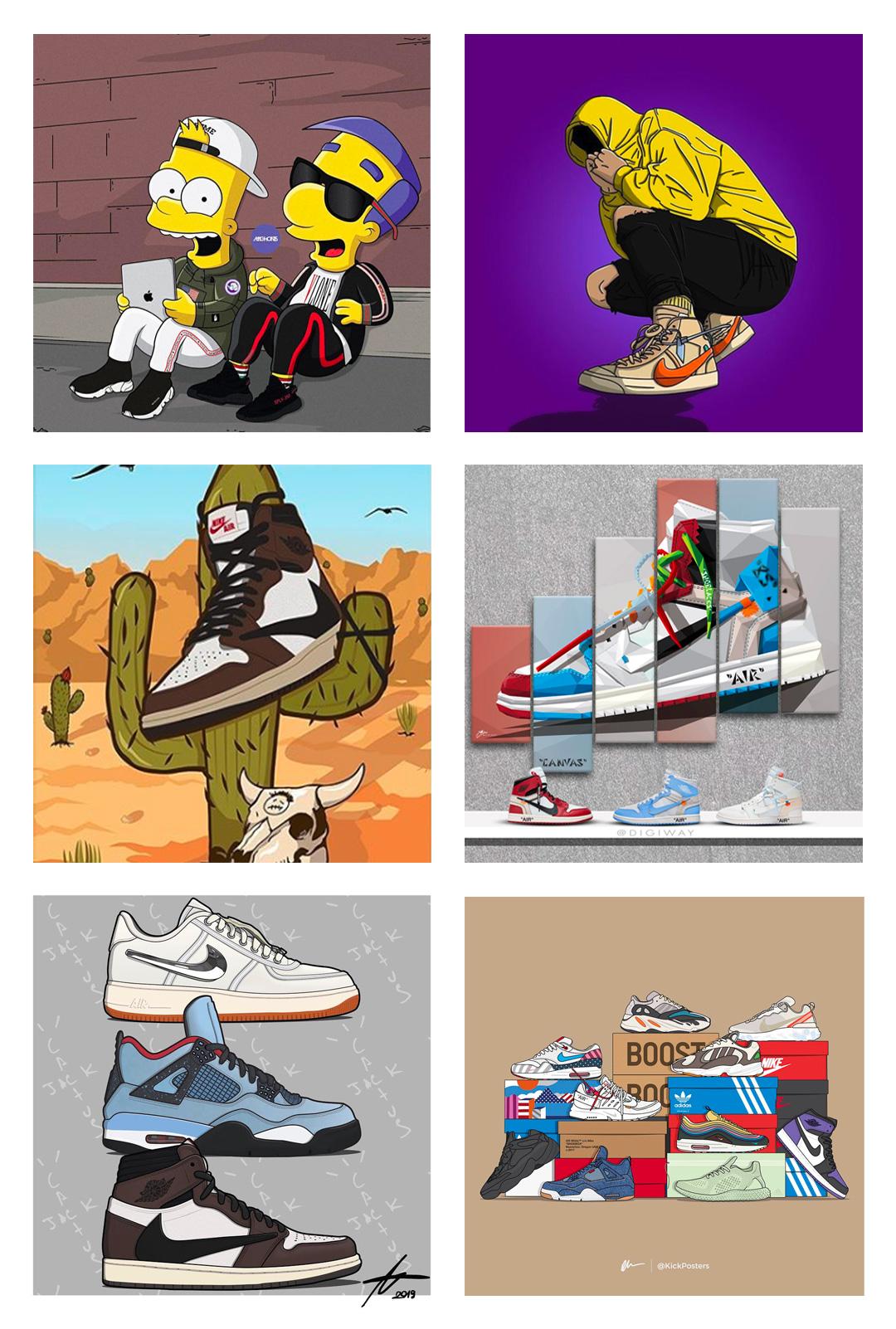 Sneaker art: @maconis / @alexmacsek / @sadboiartworks / @digiway / @nmthmike / @kickposters