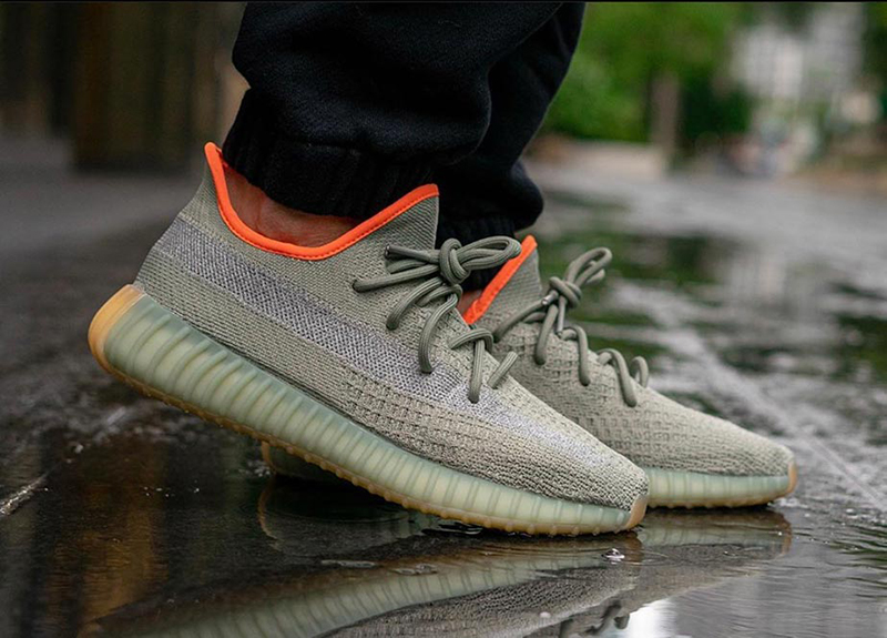 Yeezy 350 V2 Desert Sage on feet