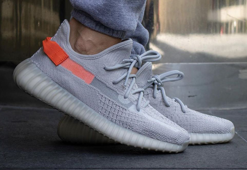 Yeezy 350 V2 Tail Light on feet