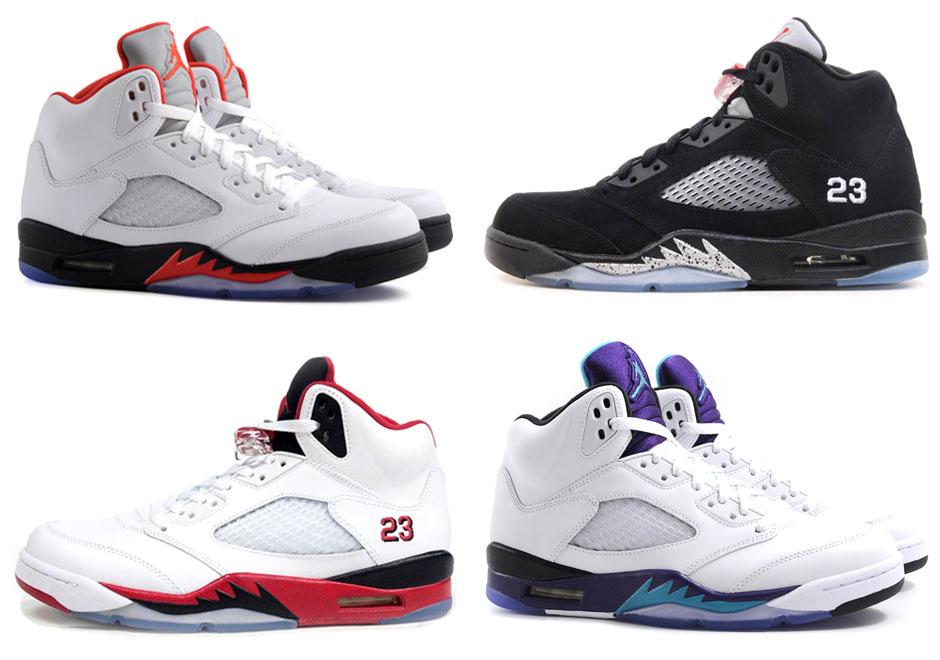 Az eredeti Jordan V színállások 1990-ből (Tervező: Tinker Hatfield)
