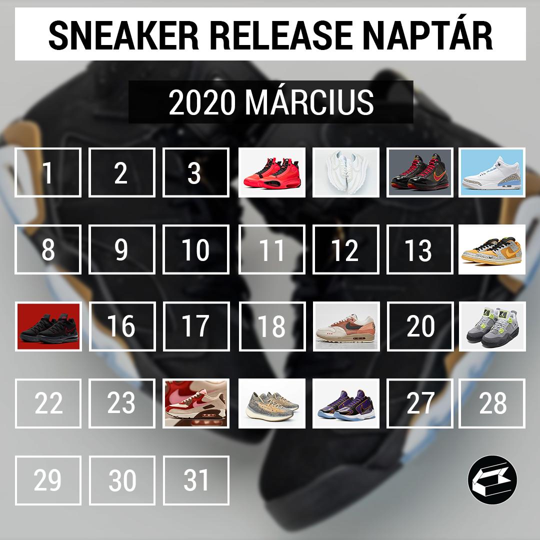 Sneaker Release Calendar – 2020 március